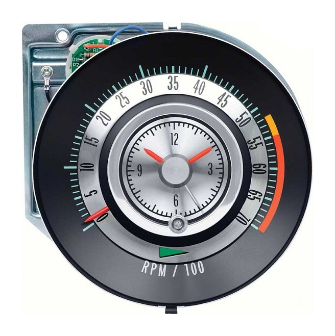 Tachometer with Clock for 1968 Chevrolet Camaro 327 and 350 - 5500 RPM